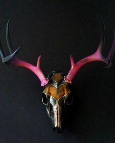 Handpainted Deer Skull Taxidermy. $196.00, via Etsy.
