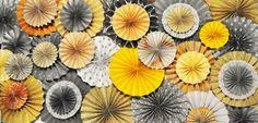 Yellow, Peach & Gray Vintage Wedding Paper Rosette Backdrop for Dessert Table / Shower/ Nursery  (Featured on HWTM). $175.00, via Etsy.