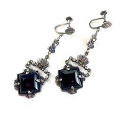 Vintage Black Onyx Marcasite Dangle Earrings Art Deco Sterling | Etsy Art Deco Earrings, Pendant Earrings, Etsy Jewelry, Jewelry Gifts, Blue Choker, Vintage Jewelry, Unique Jewelry, Screw Back Earrings, Marcasite