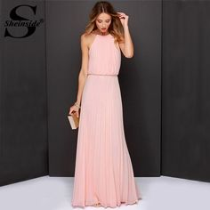 Sheinside Vestidos De Festa Woman Clothes 2015 Solid Pink Sleeveless Halter Pleated Backless Fashion Designs Maxi Dress