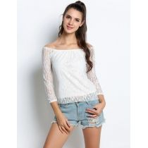 White Lace Hollow Yarn Off the Shoulder Slash Neck Long Sleeve Tops