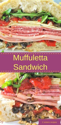 Italian Muffuletta Sandwich - 2 Sisters Recipes by Anna and Liz Muffuletta Recipe, Muffuletta Sandwich, Picnic Sandwiches, Meat Sandwich, Wrap Sandwiches, Sandwich Recipes, Italian Sandwiches, Gourmet Sandwiches, Wallpaper Collage