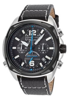 Bulova 98B226 Watches,Men's Precisionist Chronograph Black Genuine Leather and Dial, Fashion Bulova Quartz Watches