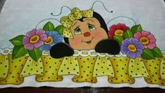 Cantinho arte da pintura : passo a passo abelhinha e barrado falso Tole Painting, Fabric Painting, Cartoon Painting, Country Paintings, 3d Cards, Easy Paintings, Crochet Flowers, Embroidery Patterns, Coloring Books