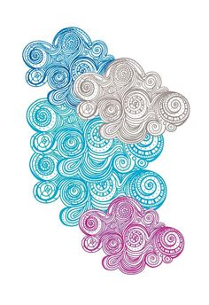 Colorful Clouds zentangle doodle style aqua teal turquoise purple