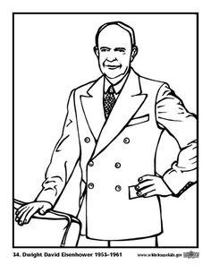 Coloring page 34 Dwight David Eisenhower
