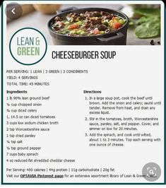 Lean and Green Cheeseburger Soup, 4 servings Lean Protein Meals, Lean Meals, Diet Meals, Health Meals, High Protein, Medifast Recipes, Healthy Recipes, Healthy Foods, Lean Recipes