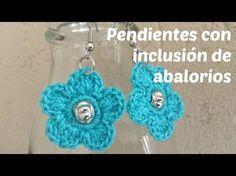 Pendientes a crochet con inclusión de abalorios - YouTube