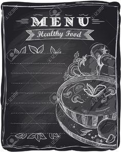 chalkboard display with menu -