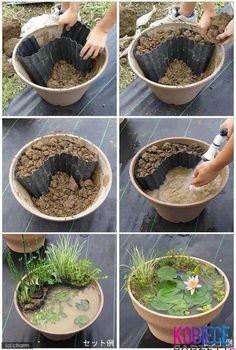 Zobacz zdjęcie Jak prosto zrobic ogród w doniczce z wodą? Bardziej przypomina to oczko wodne w doniczce, jednak mozna wykorzystać ten sposób do stworzenia czegoś własnego :3 w pełnej rozdzielczości