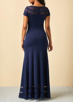Dresses For Women Stylish Dress Designs, Stylish Dresses, Women's Fashion Dresses, African Wear Dresses, Beach Wear Dresses, Blue Dresses, Maxi Gowns, Blue Maxi, Mesh Panel