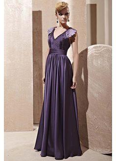 In Stock Junoesque A-line V-neck Natural Waist Long Beaded Formal Dress / Evening Dress