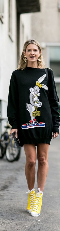 Milan Fashion Week street style: Helena Bordon in a bugs bunny sweater and sneaker wedges