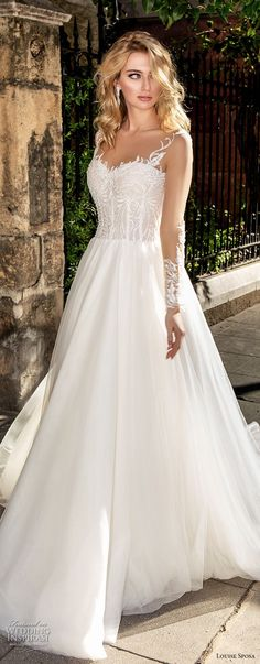 louise sposa 2018 bridal long sleeves illusion jewel sweetheart neckline heavily embellished bodice romantic a line wedding dress sheer button back chapel train (21) mv -- Louise Sposa 2018 Wedding Dresses
