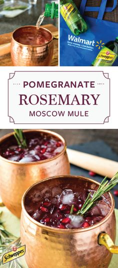 Ready for a festive twist on the classic Moscow Mule? Mix together Schweppes Ginger Ale, muddled rosemary, pomegranate juice, vodka, and citrus to get this refreshing and fun Pomegranate and Rosemary Moscow Mule recipe! Your holiday party simply wouldn't