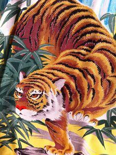 RARE VINTAGE 1940'S 50'S HAWAIIAN RAYON TIGER ARTVOGUE SHIRT ART VOGUE MATCHING Tiger Shirt, Trashy Diva, Black Bamboo, Vintage Hawaiian Shirts, Tigers, 1940s, Vogue, Tropical, Collections