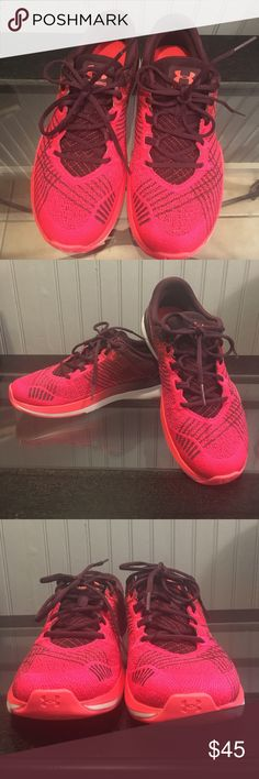 Under Armour Ladies Sneakers EUC. Worn maybe twice. Very comfortable training shoe. Great colors. They're burgundy, orange, white and a pinkish red. Under Armour Shoes Sneakers