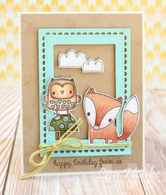 Forest Friends stamp set...Reverse Confetti stamp set exclusive for the Simon Says Stamp STAMPtember. I used my copics to color up the fox and owl images and created a sweet little scene all framed up with the Lacy Scallops Confetti Cut in Iced Aqua card stock from RC.