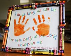 Father's Day hand print craft with crayon frame. #fathersdaycrafts #greatkidscrafts #easyfathersdaycrafts