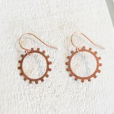 Classic Hoop Shape Copper Sprocket Earrings - tap to personalize and get yours