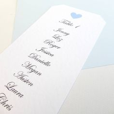 Personalised Heart Wedding Table Plans