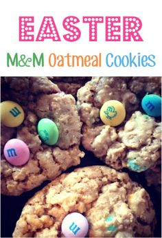 Easter M&M Oatmeal Cookie Recipe! #cookies #recipes
