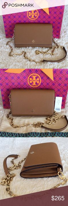 """BRAND NEW TORY BURCH WALLET ON CHAIN/TIGER'S EYE Authentic. Brand new with tags. This bag has dust bag and gift bag. Crossbody chain strap. Magnetic snap closure; lined. Two interior slip pockest, 16 credit card slots, interior zip pocket, exterior slip pocket. Logo plaque at front, gold-tone hardware. 7.5""""L x 2""""W x 5""""H; 23"""" strap drop. Saffiano leather. Tory Burch Bags Crossbody Bags"""