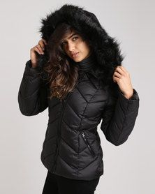 17a904bd9 New Look Faux Fur Trim Hooded Chevron Puffer Jacket Black   Clothes ...
