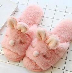 21333b92ef2 Pink Furry Bunny Slippers. Cute Cartoon AnimalsKawaii FashionJapan Fashion Womens ...
