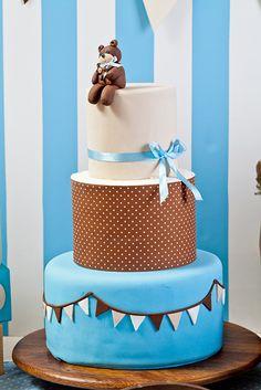 Cake at a Teddy Bear Baby Shower #teddybear #babyshower #cake