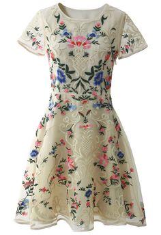 Garden Embroidered Beige Organza Dress - Retro, Indie and Unique Fashion