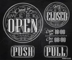Set vintage open closed chalk