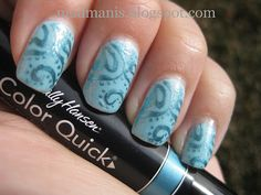 M64 and Sally Hansen Color Quick pen in Turquoise Chrome, over Sinful Colors Cinderella