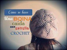Como se hace una BOINA caída con estrella a CROCHET (diestro) Baby Knitting Patterns, Sombrero A Crochet, Knitted Hats, Crochet Hats, Crochet Winter, Beret, Youtube, Winter Hats, Beanie
