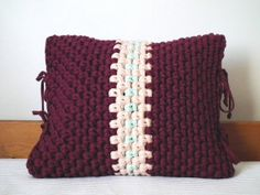 Decorative Burgundy Crochet Pillow Cover   by LoopingHome on Etsy, €28.00