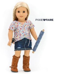 "Denim Minirock 18 ""Puppenkleider Muster - Liberty Jane Designs To Fit 18 inch American Girl Dolls - Skirt Mini Skirt Style, Denim Mini Skirt, Mini Skirts, Ag Doll Clothes, Doll Clothes Patterns, Clothing Patterns, Ag Dolls, Girl Dolls, Pixie"