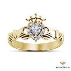 WOMEN'S 925 SILVER 1.00 CARAT DIAMOND IRISH CLADDAGH PROMISE FRIENDSHIP RING #aonebianco #CladdaghEngagementRing