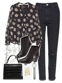 """""""outfit with denim jeans and floral blouse"""" by ferned on Polyvore featuring Topshop, Violeta by Mango, Acne Studios, MaxMara, Michael Kors, Casetify and Witchery"""