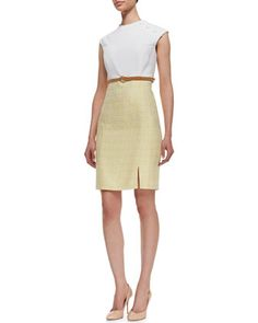 Knit & Tweed Combo Jewel-Neck Dress, White/Yellow by Kay Unger New York at Neiman Marcus. /// So classic and timeless! I really really love this one.