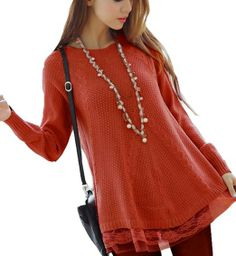 Amazon.com: Loose Fitting Long Sleeved Sweater Lace Dress: Clothing