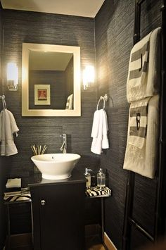 charcoal grasscloth wallpapered half bath - perfect for the man cave