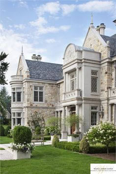 See how the bones of the exterior utilize stone and architectural detaling to personalize a historically inspired design, creating a handsome sillouette. - Luxury Homes Design Exterior, Stone Exterior, Exterior Cladding, English Manor, European House, European Style, French Style, Interior Photo, Luxury Interior