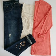 #ootd Archive - October 26 - Skinny Boyfriend Jeans with a Ruffled Tank and Coral Boyfriend Cardigan: Nothing in this outfit is over $16!