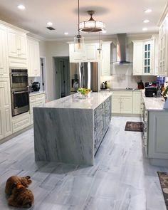 Loving this modern kitchen design using our ONYX Gris floor tile👌⠀⠀⠀⠀⠀⠀ ⠀ Timeless Kitchen, Modern Kitchen Design, Kitchen Flooring, Kitchen Inspiration, Tile Floor, Ranch, Tiles, Kitchens, Cottage