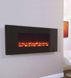 Wall Mounted Fires | Piano Black Electriflame Wall Mounted Electric Fire From Celsi | Direct Fireplaces