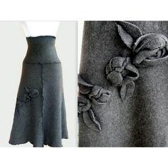 Sweater Fleece Skirt With Rosette Decor ($60) ❤ liked on Polyvore featuring skirts, black, women's clothing, ruffle skirt, fleece skirt, rose print skirt, pattern skirt and black ruffle skirt