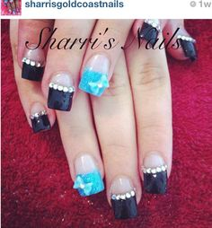 Absolutely love these nails! I want to do something like this for the carolina panthers  game!