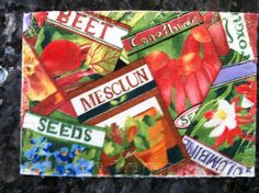 How does your garden grow? Fabric postcard.