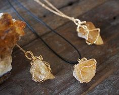 Citrine Necklace Pendant Chunky Raw Citrine Natural Crystal Healing Rose Gold wrapped Taurus Aries April May Birthday Gift Unusual Unique Citrine Crystal Meaning, Crystal Meanings, What Is It Called, Natural Crystals, Crystal Pendant, Birthday Gifts, Taurus Aries, Healing, Dates