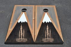 Company Logo Mountain Full Size Stained Corn hole Boards with bags /Lawn Games / Corn Toss / Wedding /Personalized /Logo /corn hole Cornhole Rules, Cornhole Decals, Cornhole Set, Wedding Cornhole Boards, Custom Cornhole Boards, Diy Yard Games, Backyard Games, Sherwin Williams Stain, Lawn Games Wedding
